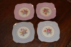 PT Bavaria #Tirshcenreuth Set of 4 Decorative Flower Plates Hand Painted