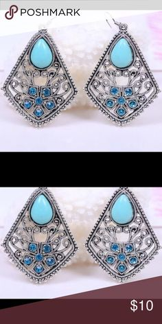 Stunning Turquoise and Silver Drop Earrings Unique shape and style! Brand new! Jewelry Earrings