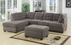 Poundex Charcoal Grey Modern Sectional Couch 3 Pc Living room Set Sofa with Reversible Chaise Sectional Sofa With Chaise, Fabric Sectional, Charcoal Sectional, Modern Sectional, Ottoman Sofa, Blue Ottoman, Leather Sectional, Sectional Furniture, Sleeper Sectional