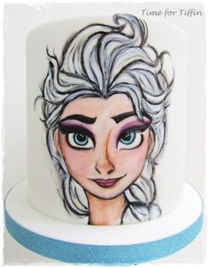 Elsa - Cake by Time for Tiffin Pretty Cakes, Cute Cakes, Fondant, Frozen Theme Cake, Elsa Cakes, Walt Disney Co, Homemade Birthday Cakes, Bear Birthday, Painted Cakes