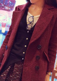 Double-Breasted Faux-Wool Coat - Lookbook Store