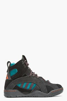 release date 57614 78871 adidas Originals By O.C. Black Suede Convertible Oc Enforcer Rock Climbing  Boots for men   SSENSE