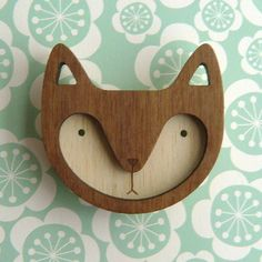 Walnut Wooden Fox Brooch