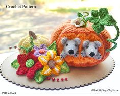PUMPKIN crochet pattern PDF Crochet pumpkin and mice amigurumi #Affiliate