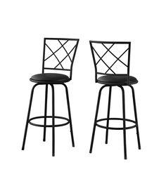 Monarch Black Metal / Black-Leather Look Seat Barstool (Set of 2)