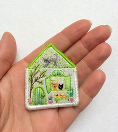 "Pet brooch, ""The Cat House"" -- hand embroidered textile jewelry by MakikoArt"