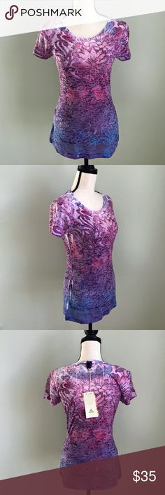 "Prana Purple and Pink Lotus Burnout Top Prana Purple, Pink and Blue Lotus Short Sleeve Burnout Top  Size Large  measures 17"" armpit to armpit measures 18"" armpit to hem measures 26"" back neckline to hem measures 16"" shoulder to shoulder  (Inv Bin N-C) Prana Tops Tees - Short Sleeve"