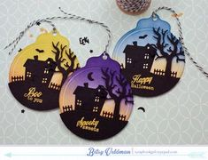 Spooky Shaded Tags by Betsy Veldman for Papertrey Ink (August 2015)