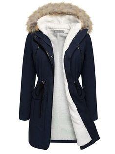 f935e2b04b3c Flocking Hooded Hidden Button Women s Overcoat