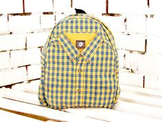 Unique Rucksack  Plaid Yellow Backpack  Hipster  by WhatTheFactory