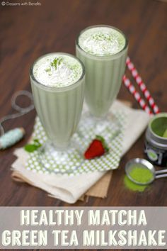 Guilt-Free Matcha Tea Milkshake -- thick, creamy and sweet, yet only 100 calories and 2.5g fat! Plus, it's sugar-free with 12g protein! Totally breakfast-worthy ;) [sugar free, low carb, low fat, high protein, gluten free]