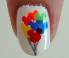 Cute DISNEY nail art,u only need white (for the back ground) or any other color ,black for the streamers (any other color if u want )and rainbow colors for the balloon Mickey Mouse Nails, Mickey Mouse Balloons, Minnie Mouse, Disney Nail Designs, Cool Nail Designs, Trendy Nails, Cute Nails, Diy Nails, Estilo Disney