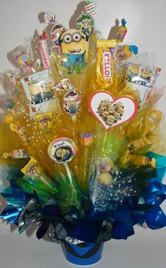 Hey, I found this really awesome Etsy listing at https://www.etsy.com/listing/163578932/minions-centerpiece-candy-bouquet-also