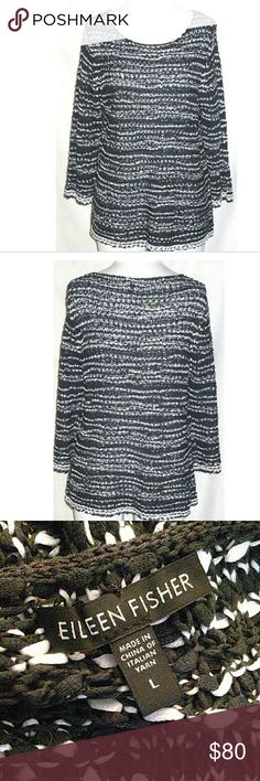 Eileen Fisher black&white loose knit pullover Cotton loose knit pullover sweater. Like new Eileen Fisher Sweaters
