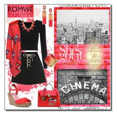 """""""ROMWE: Back in Black"""" by tjclay3 ❤ liked on Polyvore featuring Pottery Barn, WearAll, Oscar de la Renta, skirt and romwe"""