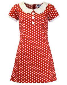 MADCAP ENGLAND Dollierocker Polka Dot Retro 60s Mod Dress Red