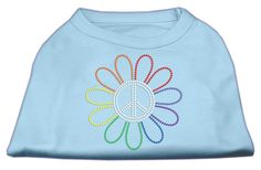 Rhinestone Rainbow Flower Peace Sign Shirts Baby Blue L (14)