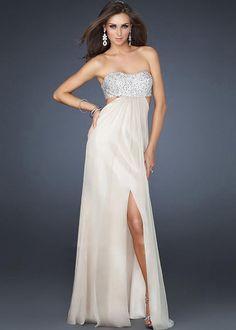 La Femme Nude Strapless Beaded Open Back Slit Long Prom Dress