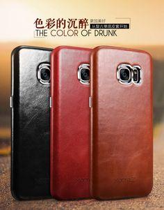 iCarer/XOOMZ Genuine Full Grain Leather Vintage Back Cover Case for Samsung Galaxy S7 G9300/ S7 Edge G9350