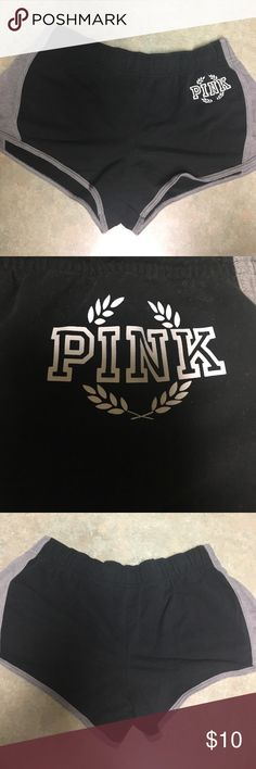 VS PINK Shorts Super cute and comfy. I usually wear a large in cotton shorts like these, but these have a tighter fit than most VS shorts. They are in great condition but are missing the draw string, I'm not sure what happened to it! They also don't have any pockets. Very good condition though, I bout them last summer and have only worn them a handful of times. PINK Victoria's Secret Shorts