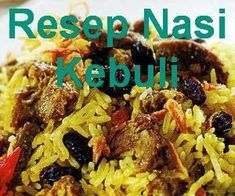 Resep nasi kebuli daging kambing (rekomendasi), tapi bisa juga diganti dengan ayam. Lihat resep dan cara membuat nasi kebuli spesial berikut - http://www.infooresep.com/2015/04/resep-nasi-kebuli.html