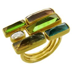 Ring | Studio Margoni.  Multi-colored tourmalines, diamond, 18K gold