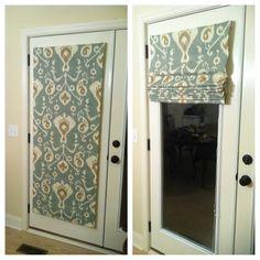 No Sew Roman Shades...back door privacy. Cream fabric u003c~~DO ON TV ROOM DOOR  AND both SIDE DOOR/WINDOWS!- will help