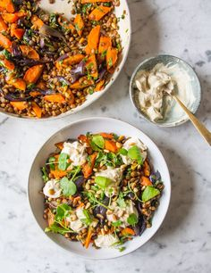 Warm Cumin Roasted Carrot, Red Onion and Lentil Salad - DeliciouslyElla Lentil Recipes, Veggie Recipes, Whole Food Recipes, Salad Recipes, Vegetarian Recipes, Cooking Recipes, Healthy Recipes, Dinner Recipes, Roasted Carrot Salad