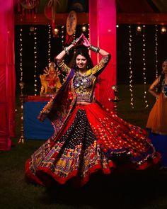 Image may contain: one or more people and people dancing Garba Dress, Lehnga Dress, Garba Dance, Navratri Garba, Navratri Dress, Dandiya Dress, Gagra Choli, Chanya Choli, Rajasthani Dress