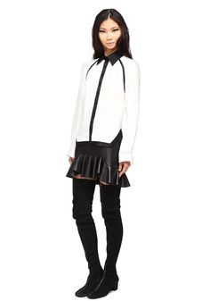 Primary: b+w Isa Oxford and leather Moet skirt [ fall arrivals ]