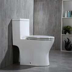 Woodbridge Modern Design, One Piece Dual Flush Gpf, with Soft Closing Seat, Elongated Toilet, White Toilet For Small Bathroom, Compact Bathroom, Bathroom Toilets, Small Bathrooms, Washroom, Contemporary Bathrooms, Modern Bathroom, Bathroom Ideas, Master Bathroom