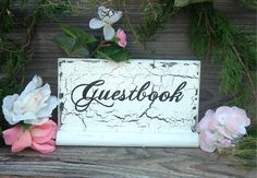 Guestbook Wedding Sign Wood Wedding Sign Cottage by ArtIllusions