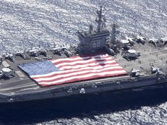 An American Flag displayed proudly on one of The United States ships...