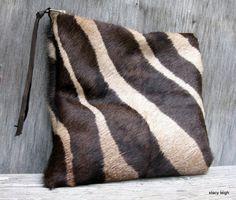 Hair On Cowhide Clutch in Brown Zebra Print