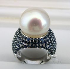 HS #Gem Quality South Sea Cultured #Pearl 15.35mm & #Sapphire 5.638ctw 18KWG #Ring #Jewelry #Christmas #Anniversary