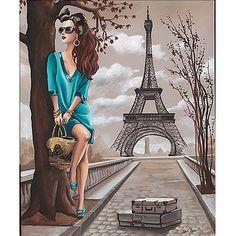 Image - Femme tunique turquoise/tour Eiffel - 40 x 50 cm