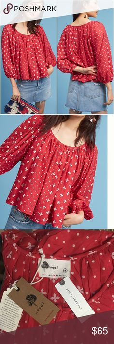 ANTHROPOLOGIE Red & White Bohemian Peasant Top NWT ANTHROPOLOGIE Red & White Bohemian Peasant Top  Boho, peasant, red & white print, NWT Anthropologie Tops Blouses
