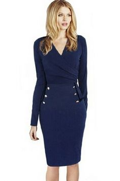 #Navy Surplice Long Sleeves Pencil #Dress - OASAP.com ¯`•.❤ Kicking Off New Year~ Items From $1.9!! Happy New Year 2015!
