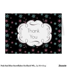 Pink And Blue Snowflakes On Black Whimsical Thank you card