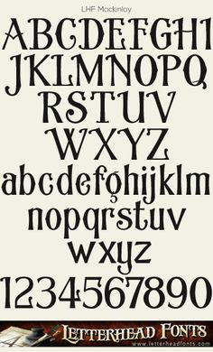 Letterhead Fonts / LHF Mackinlay font / Late 1800's Fonts Graffiti Lettering Fonts, Typography Alphabet, Typography Fonts, Typography Design, Hand Lettering, Chalkboard Fonts, Pyrography Patterns, Hand Drawn Fonts, Fancy Fonts