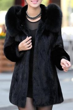 Trendy Hooded Long Sleeve Solid Color Faux Fur Coat For Women