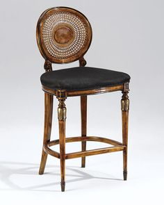 luxury furniture | counter stool | hand-crafted in Italy Louis XVI style beech wood counter stool with hand-caned back, hand-rubbed walnut finish, antiqued silverleaf accents and black muslin upholstery
