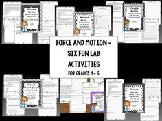 This bundle of 6 lab activities contain lessons to aid understanding of motion, speed, acceleration, intertia, and Newton's three laws of motions.  Race cars down ramps. Push / pull marbles on the face of a clock.  Use dominoes to observe speed.  Use balloons to demonstrate how rockets illustrate Newton's third law.