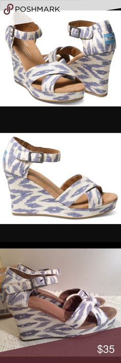 TOMS Ikat Wedges Blue and White Canvas material. Good condition! Pre loved. Wedge is about 3.5 inches. Very comfortable! Open to offers! Toms Shoes Wedges
