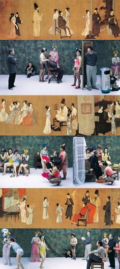 """And here's Wang's modern interpretation of """"Night Revels of Han Xizai,"""" a famous 10th Century scroll."""