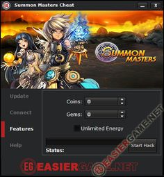 Summon Masters Cheat / Hack iOS Android 2014  Features: - Unlimited Gems. - Unlimited Coins. - Unlimited Energy.  http://easiergame.net/summon-masters-cheat-hack-ios-android/