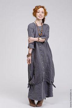 Купить Бохо платье 4/4 цвет графит - темно-серый, бохо, бохо-стиль