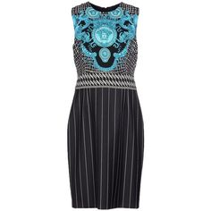 Pre-owned Versace Black Knee-length Dress ($760) ❤ liked on Polyvore featuring dresses, black, stretch tube dress, versace, striped dress, versace dress and sleeveless cocktail dress