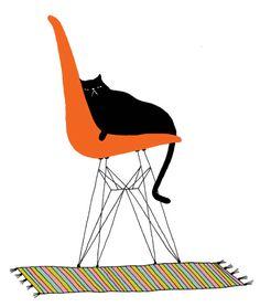an illo by Jordan of Nei-nei reclining on an Eames chair