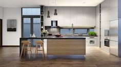 Roohome.com - Do you want to decor your kitchen with wooden accents? What kind of model design that you already choose? If you did not find the design yet, it is possible if you see our modern kitchen designs below. This design has designed with a trendy model, then it will ...